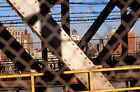 View of Lower Manhattan Seen from a Subway Car Crossing the Manhattan Bridge, New York City, New York State, USA