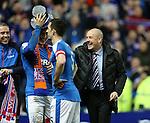 Rob Kiernan tries to put the magic hat on Mark Warburton who laughs it away