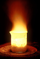 SODIUM BURNS IN AIR<br /> Sodium Is A Highly Reactive Element<br /> Sodium heated to 250 degrees, comes in contact with air and sets off exothermic reaction.