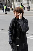 Francoise David attend Claire Kirkland-Casgrain's  funeral, April2nd, 2016.<br /> <br /> <br /> Photo : Agence Quebec Presse