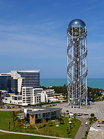 Blick vom Riesenrad auf Turm des georgischen Alphabets und Strand, Batumi, Adscharien - Atschara, Georgien, Europa<br /> center with tower of Georgian allphabet, Batumi, Adjara,  Georgia, Europe