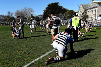 Dejected Otago Boys players, following the 1st XV South Island Final rugby match between Otago Boys High School 1st XV and Nelson College 1st XV at Littlebourne in Dunedin, New Zealand on Saturday, 31 August 2019. Photo: Joe Allison / lintottphoto.co.nz