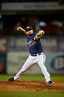 Mississippi Braves relief pitcher Josh Graham (27) during a Southern League game against the Jacksonville Jumbo Shrimp on May 4, 2019 at Trustmark Park in Pearl, Mississippi.  Mississippi defeated Jacksonville 2-0.  (Mike Janes/Four Seam Images)