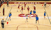 STANFORD, CA - NOVEMBER 17: Stanford, CA - November 17, 2019: Kate Formico, Jenna Gray, Madeleine Gates, Meghan McClure, Morgan Hentz, Kathryn Plummer at Maples Pavilion. #4 Stanford Cardinal defeated UCLA in straight sets in a match honoring neurodiversity. during a game between UCLA and Stanford Volleyball W at Maples Pavilion on November 17, 2019 in Stanford, California.