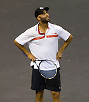 James Blake, USA, defeats John McEnroe (USA) 7-5,  at the PowerShares Champions Cup, in Boston, Massachusetts on April 22, 2015.