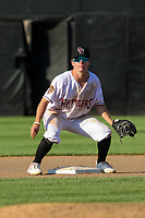 Wisconsin Timber Rattlers second baseman Hayden Cantrelle (2) waits for a throw at second base during a game against the West Michigan Whitecaps on May 22, 2021 at Neuroscience Group Field at Fox Cities Stadium in Grand Chute, Wisconsin.  (Brad Krause/Four Seam Images)