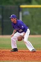 St. Thomas Tommies shortstop Brady Johnson (28) during a game against the Wisconsin-Whitewater Warhawks on March 27, 2016 at Lake Myrtle Park in Auburndale, Florida.  Wisconsin-Whitewater defeated St. Thomas 13-1.  (Mike Janes/Four Seam Images)