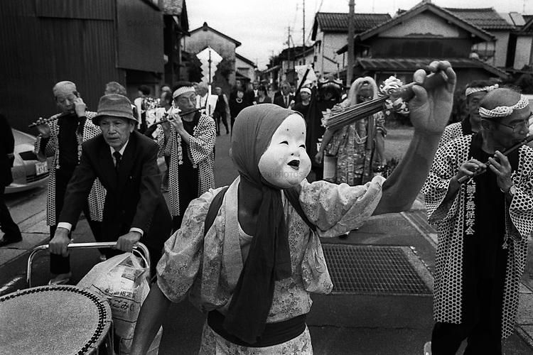 Villager go around the village to perform Shishimai, dragon dance, during the Fall festival in Hikawa, Shimane.<br /> <br /> Les villageois font le tour du village pour présenter Shishimai, danse du dragon, pendant le festival d'automne à Hikawa, Shimane.