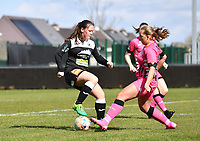 Valentine Hannecart (8) of Eendracht Aalst pictured in duel with Megane Vos (20) of Sporting Charleroi during a female soccer game between Eendracht Aalst and Sporting Charleroi on the 18 th and last matchday before the play offs of the 2020 - 2021 season of Belgian Scooore Womens Super League , Saturday 27 th of March 2021  in Aalst , Belgium . PHOTO SPORTPIX.BE | SPP | DAVID CATRY