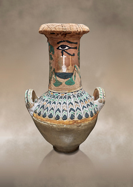 Ancient Egyptian  decorated jar sealed with linen , tomb of Kha, Theban Tomb 8 , mid-18th dynasty (1550 to 1292 BC), Turin Egyptian Museum. <br /> <br /> TT8 or Theban Tomb 8 was the tomb of Kha, the overseer of works from Deir el-Medina in the mid-18th dynasty[2] and his wife, Merit. TT8 was one of the greatest archaeological discoveries of ancient Egypt, one of few tombs of nobility to survive intact.