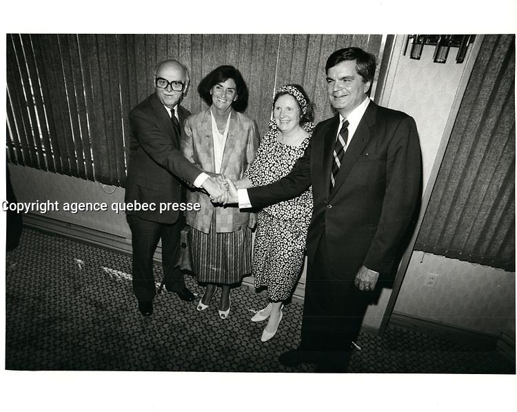 Jean Drapeau et Claude Dupras, circa 1986<br /> <br /> PHOTO : agence quebec presse