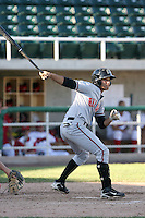 Sammy Diaz #4 of the Billings Mustangs during a game against the Orem Owlz in a Pioneer League game at Brent Brown Ballpark on July 24, 2011 in Orem, Utah. (Bill Mitchell/Four Seam Images)