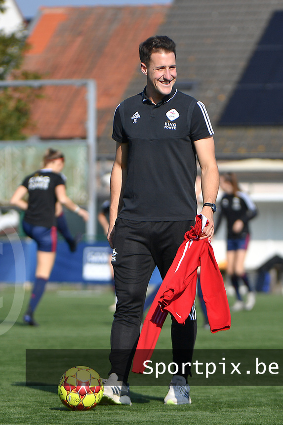 headcoach Jimmy Coenraets of OH Leuven  pictured during a female soccer game between SV Zulte - Waregem and Oud Heverlee Leuven on the sixth matchday of the 2021 - 2022 season of Belgian Scooore Womens Super League , saturday 9 of October 2021  in Zulte , Belgium . PHOTO SPORTPIX | DIRK VUYLSTEKE
