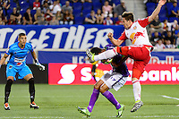 Harrison, NJ - Wednesday Aug. 03, 2016: Cristian Alvarez, Sixto Betancourt, Alex Muyl during a CONCACAF Champions League match between the New York Red Bulls and Antigua at Red Bull Arena.