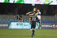 SAN JOSE, CA - OCTOBER 07: Florian Jungwirth #23 of the San Jose Earthquakes and Fredy Montero #12 of the Vancouver Whitecaps battle for the ball during a game between Vancouver Whitecaps and San Jose Earthquakes at Eathquakes Stadium on October 07, 2020 in San Jose, California.