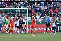 Portland, OR - Saturday July 22, 2017: Washington Spirit celebrate during a regular season National Women's Soccer League (NWSL) match between the Portland Thorns FC and the Washington Spirit at Providence Park.