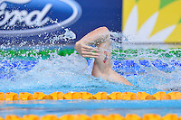 Adam Brown of ENG swims anchor leg of 4x100 meter medley relay final during Commonwealth Games, Tuesday, July 29, 2014 in Glasgow, United Kingdom. (Mo Khursheed/TFV Media via AP Images)