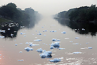 Foam floats on the surface of the Bhangar Canal, on the eastern outskirts of Kolkata. Flowing off of the nearby Vidyadhari River, the canal receives water mostly from nearby tanneries which process leather. At various points along the canal, toxic wastewater from the tanneries is released into the nearby waterway. At sluice gates nearby, the water has turned to foam as the chemical-laced water is churned up. India. November, 2013