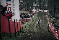 Katie Compton (USA/KFC Racing p/b Trek/Panache) at the front with Eva Lechner (ITA/Clif) & Nikki Brammeier (GBR/Doels-Bolmans)<br /> <br /> Women's race<br /> UCI CX World Cup Namur / Belgium 2017