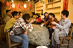 Young people gathered in a noodle shop in the village of Jioufen, Taipei County, Taiwan