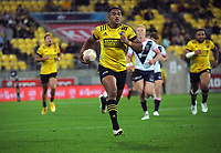 Hurricanes' Julian Savea runs in the first try during the Super Rugby Tran-Tasman match between the Hurricanes and Rebels at Sky Stadium in Wellington, New Zealand on Friday, 21 May 2020. Photo: Dave Lintott / lintottphoto.co.nz