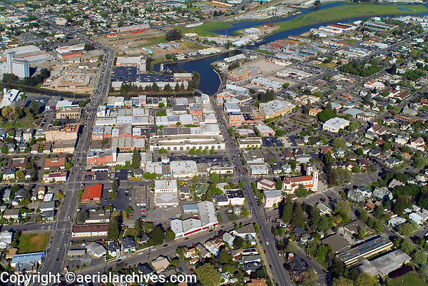 historical aerial photograph of the City of Petaluma, Sonoma County, California with the Petaluma River in the background, 2004