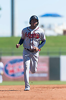 Peoria Javelinas center fielder Cristian Pache (27), of the Atlanta Braves organization, rounds the bases after a two-run home run by Hudson Potts (not pictured) during an Arizona Fall League game against the Surprise Saguaros at Surprise Stadium on October 17, 2018 in Surprise, Arizona. (Zachary Lucy/Four Seam Images)