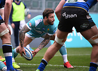 20th March 2021; Recreation Ground, Bath, Somerset, England; English Premiership Rugby, Bath versus Worcester Warriors; Francois Hougaard of Worcester Warriors passes from a ruck