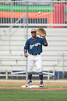 Helena Brewers first baseman Bryan Torres (16) during a Pioneer League game against the Grand Junction Rockies at Kindrick Legion Field on August 19, 2018 in Helena, Montana. The Grand Junction Rockies defeated the Helena Brewers by a score of 6-1. (Zachary Lucy/Four Seam Images)