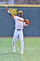 University of Tennessee left fielder Alerick Soularie (1) throws the ball during a game against Western Illinois at Lindsey Nelson Stadium on February 15, 2020 in Knoxville, Tennessee. The Volunteers defeated Leathernecks 19-0. (Tony Farlow/Four Seam Images)