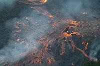 May 2018: An aerial view of the Kilauea Volcano eruption in Leilani Estates, Puna, Big Island of Hawai'i.