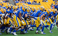 Pitt football players take the field for pregame warmup. The Virginia Cavaliers defeated the Pitt Panthers 30-14 in a football game at Heinz Field, Pittsburgh, Pennsylvania on August 31, 2019.