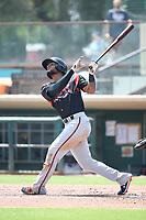 Allen Cordoba (21) of the Lake Elsinore Storm bats against the Inland Empire 66ers at San Manuel Stadium on June 5, 2019 in San Bernardino, California. (Larry Goren/Four Seam Images)