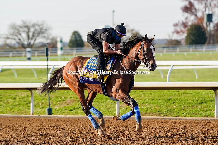 November 5, 2020: Authentic, trained by trainer Bob Baffert, exercises in preparation for the Breeders' Cup Classic at Keeneland Racetrack in Lexington, Kentucky on November 5, 2020. Dan Heary/Eclipse Sportswire/Breeders Cup/CSM