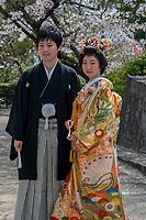 Japan, Okayama Prefecture, Kurashiki. Wedding at Tsuru gata yama park. Bride dressed in colorful kimono.