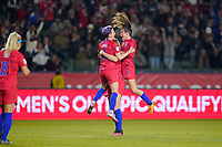 CARSON, CA - FEBRUARY 7: Samantha Mewis #3 of the United States celebrates scoring with Megan Rapinoe #15 and Kelley O'Hara #5 during a game between Mexico and USWNT at Dignity Health Sports Park on February 7, 2020 in Carson, California.
