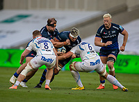 21st August 2020; AJ Bell Stadium, Salford, Lancashire, England; English Premiership Rugby, Sale Sharks versus Exeter Chiefs;  Jono Ross (C) of Sale Sharks with the ball