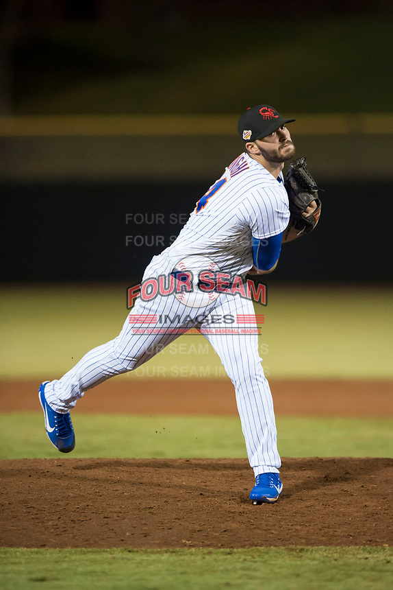 Scottsdale Scorpions relief pitcher Joe Zanghi (54), of the New York Mets organization, follows through on his delivery during an Arizona Fall League game against the Mesa Solar Sox on October 9, 2018 at Scottsdale Stadium in Scottsdale, Arizona. The Solar Sox defeated the Scorpions 4-3. (Zachary Lucy/Four Seam Images)