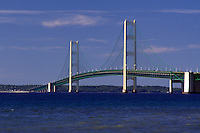 Mackinac Bridge, MI, Mackinaw City, Michigan, Upper Peninsula, Mackinac Bridge, a suspension span bridge, crosses the Straits of Mackinaw in Mackinaw City connecting the Lower Peninsula with the Upper Peninsula of Michigan.
