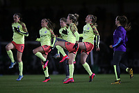 Manchester City players warm up during Arsenal Women vs Manchester City Women, FA Women's Continental League Cup Football at Meadow Park on 29th January 2020