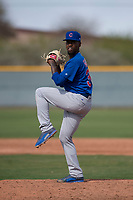 Chicago Cubs relief pitcher David Garner (36) during a Minor League Spring Training game against the Colorado Rockies at Sloan Park on March 27, 2018 in Mesa, Arizona. (Zachary Lucy/Four Seam Images)