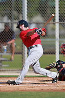 Boston Red Sox minor league outfielder Bryce Brentz (29) during a game vs. the Minnesota Twins in an Instructional League game at Lee County Sports Complex in Fort Myers, Florida;  October 1, 2010.  Brentz was taken in the first round, 36th overall supplemental, out of Middle Tennessee State in the MLB Draft.  Photo By Mike Janes/Four Seam Images