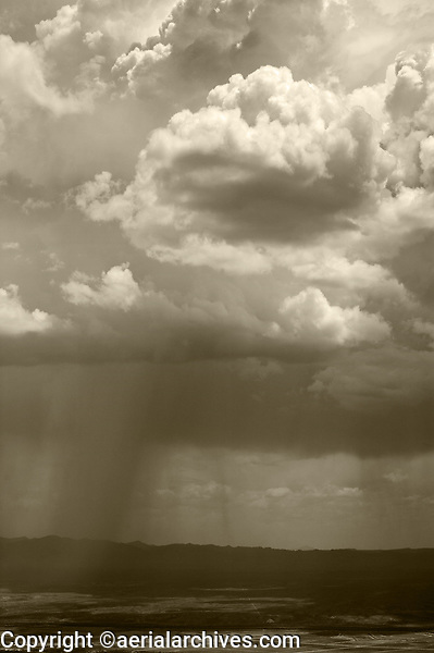 aerial photograph of rain showers from cumulonimbus clouds, west Texas