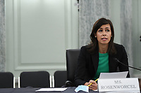 Jessica Rosenworcel, Commissioner, Federal Communications Commission (FCC) answers a question during a United States Senate Committee on Commerce, Science, and Transportation oversight hearing to examine the Federal Communications Commission in Washington, DC on June 24, 2020. <br /> Credit: Jonathan Newton / Pool via CNP/AdMedia