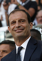 Calcio, Serie A: Torino, Allianz Stadium, 19 agosto 2017. <br /> Juventus' coach Massimiliano Allegri smiles before the Italian Serie A football match between Juventus and Cagliari at Torino's Allianz Stadium, August 19, 2017.<br /> UPDATE IMAGES PRESS/Isabella Bonotto