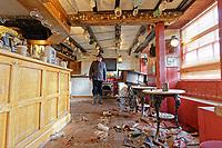 Pictured: Howard Baker, the owner of the Bridge End Inn.<br /> Re: Cleanup after storm Dennis in Crickhowell, Wales, UK.