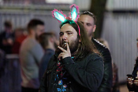 Pictured: A man wearing festive headgear in Swansea. Tuesday 31 December 2019 to Wednesday 01 January 2020<br /> Re: Revellers on a night out for New Year's Eve in Wind Street, Swansea, Wales, UK.
