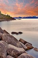 Shore of Lake Tahoe with sunrise. California/Nevada