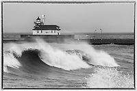 South Pier Lighthouse<br /> Waves and spray relentlessly rolled toward Duluth's shores throughout the storm.