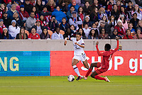 HOUSTON, TX - JANUARY 31: Lynn Williams #13 of the United States avoids the tackle of Maria Murillo #6 of Panama during a game between Panama and USWNT at BBVA Stadium on January 31, 2020 in Houston, Texas.